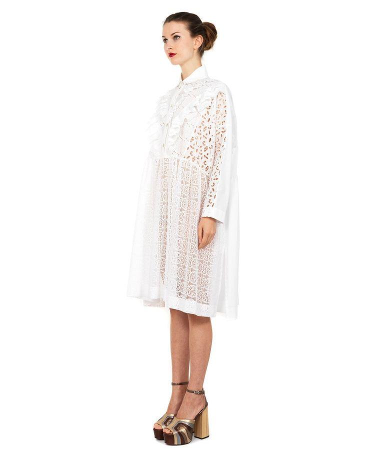 ANTONIO MARRAS SMOCK DRESS WITH MACRAMÉ LACE EMBROIDERY S/S 2016 White smock dress spread collar long sleeves front macramé lace embroidery front button closure 78% CO 21% PA 1% VI