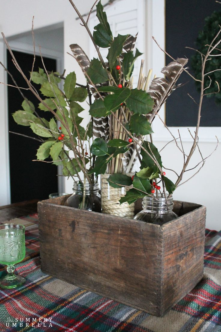 Create a rustic and holiday themed table centerpiece using vintage and natural items. Quick, easy, and beautiful!
