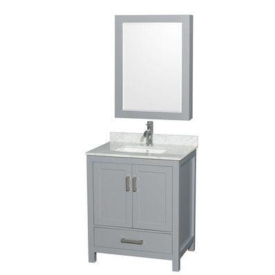 "Wyndham Collection Sheffield 30"" Transitional Single Sink Bathroom Vanity - Grey WC-1414-30-SGL-VAN-GRY at DiscountBathroomVanities.com"