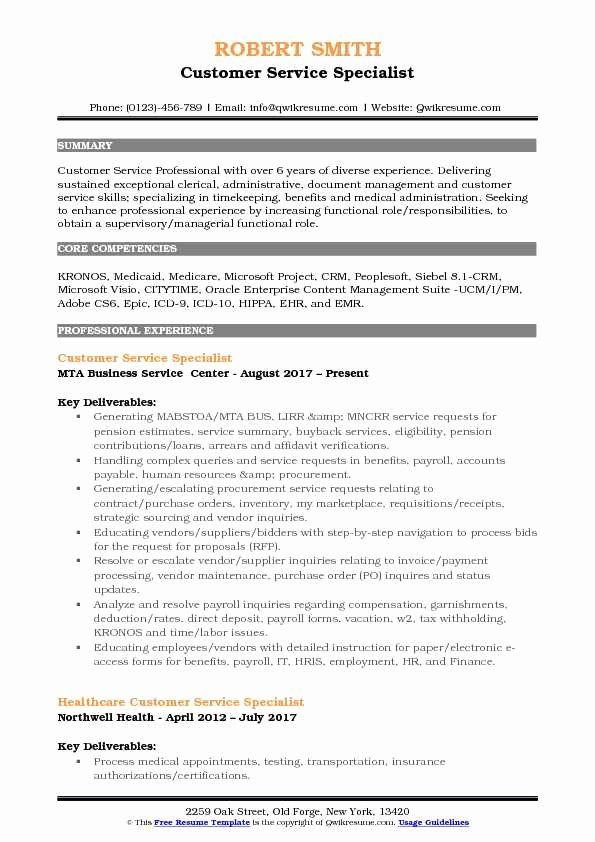 Customer Support Specialist Resume Awesome Customer Service Specialist Resume Samples