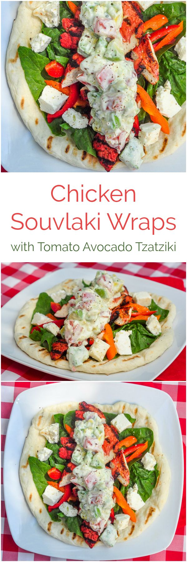 Chicken Souvlaki Wraps with Tomato Avocado Tzatziki – flavourful souvlaki marinated and grilled chicken with feta cheese, Greek salad topped with  avocado and tomato  in a chunky tzatziki.