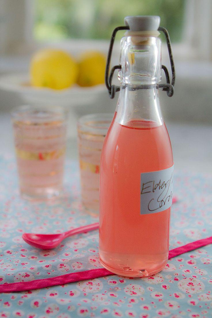 Home-made pink elderflower cordial