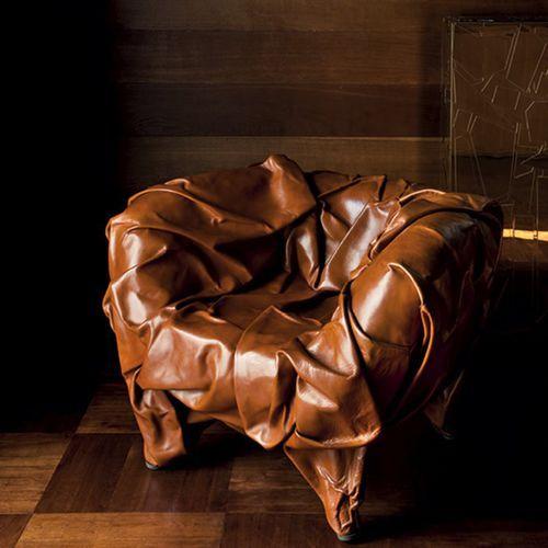 Fauteuil design original / en cuir / par Fernando & Humberto Campana / piètement standard GRINZA  edra