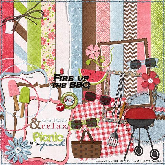 "Picnic Digital Scrapbook Kit - ""Summer Lovin"" digital scrapbook kit with BBQ, picnic basket, freeze pops for making summer scrapbook layouts"