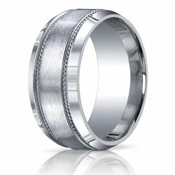 10MM Argentium Silver Ring Brushed Center w/ Silver Rope Pattern Men's Band. $219.99 at Ring-Ninja.com!   #ringninja #argentium #silver #preciousmetal #uniquerings