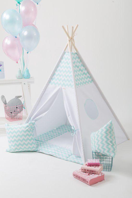 Tipi Tent - Speeltent - Tent -Wigwam - Mint / Wit Zigzag patroon - Inclusief Speelmat & Kussensloop