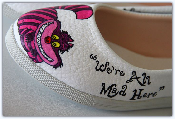 ''We're all mad here'' Alice In Wonderland hand painted shoes. by Ceren Palaz
