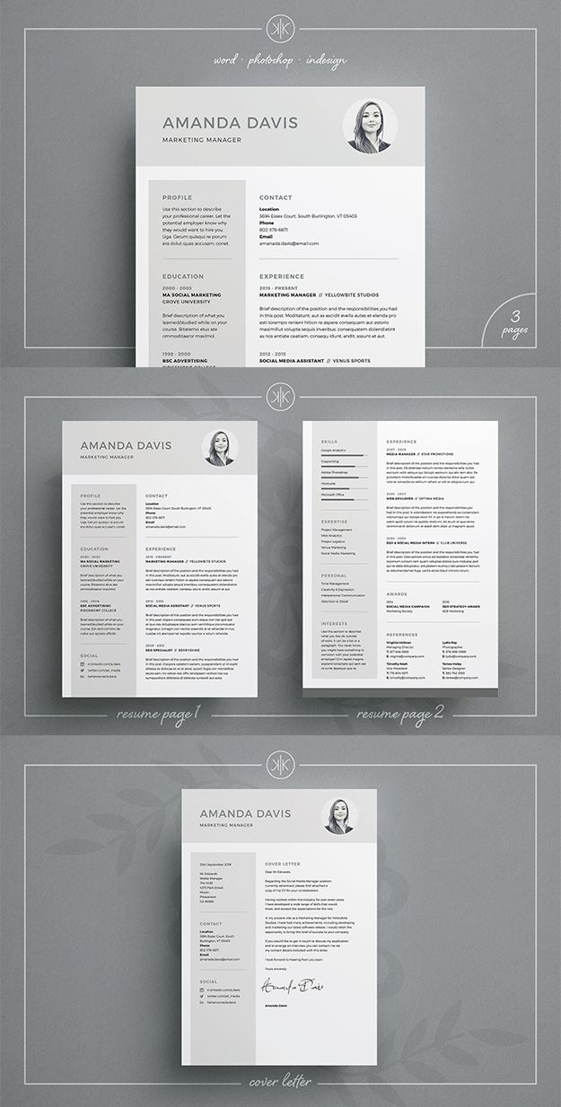 Professional Resume/CV And Matching Cover Letter Template. Photoshop / MS Word / inDesign / Instant download #resume #cv #template