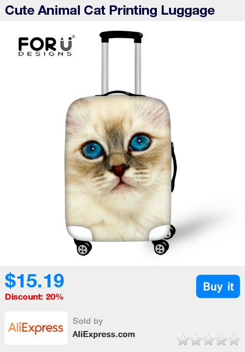 Cute Animal Cat Printing Luggage Protective Cover for 18-30 inch Suitcases Waterproof Luggage Covers Elastic Luggage Accessories * Pub Date: 23:57 Apr 14 2017