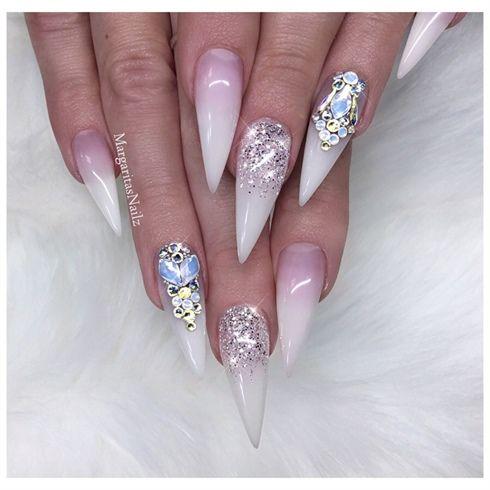 Glitter Ombré White Bling Stilettos  by MargaritasNailz from Nail Art Gallery