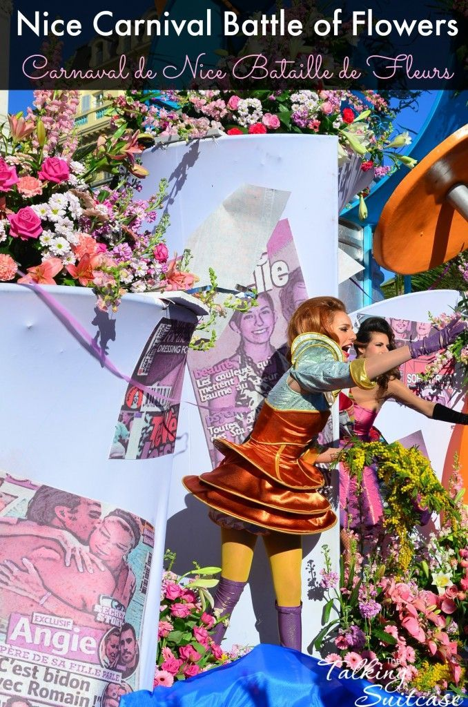 Our 5 Reasons Not to Miss the Nice Carnival Battle of Flowers - Carnaval de Nice Bataille de Fleurs in France.  Experience confetti, silly string, streamers, and the fragrance from thousands of flowers swirl through the crowd.