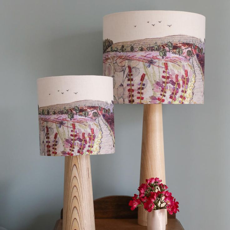This lampshade depicts a lovely view of the popular Staffordshire walking destination Cannock Chase. I have recreated the stunning purples of the heather and grasses in appliqué and stitch. This lampshade is a high-quality print of my original Cannock Chase textile piece. This is a beautiful way to bring a little bit of nature into your home and it produces a lovely glow when illuminated.