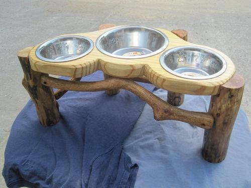 Rustic Log Elevated Dog Feeder | eBay