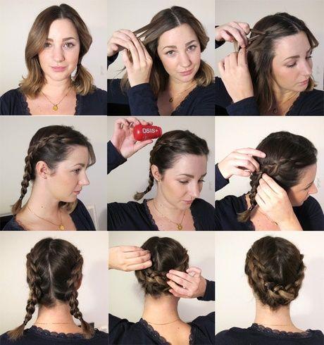 Inbakad fläta kort hår