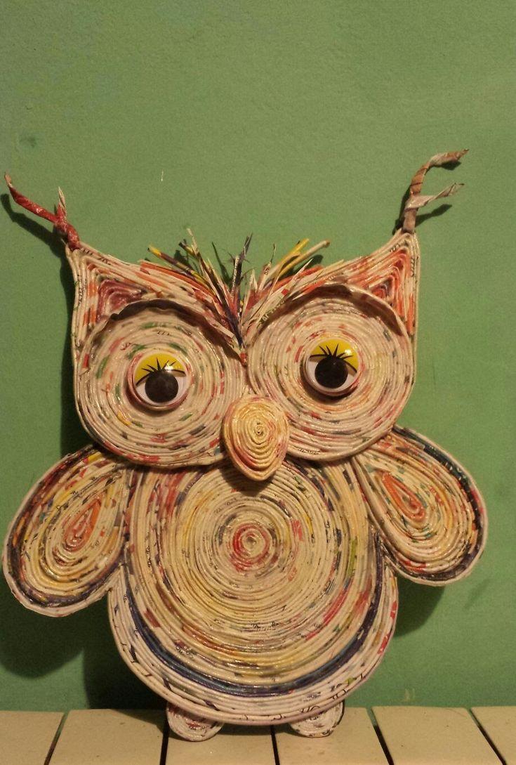 Creare con cannucce di carta-seconda  parte -Gufo Rotolone