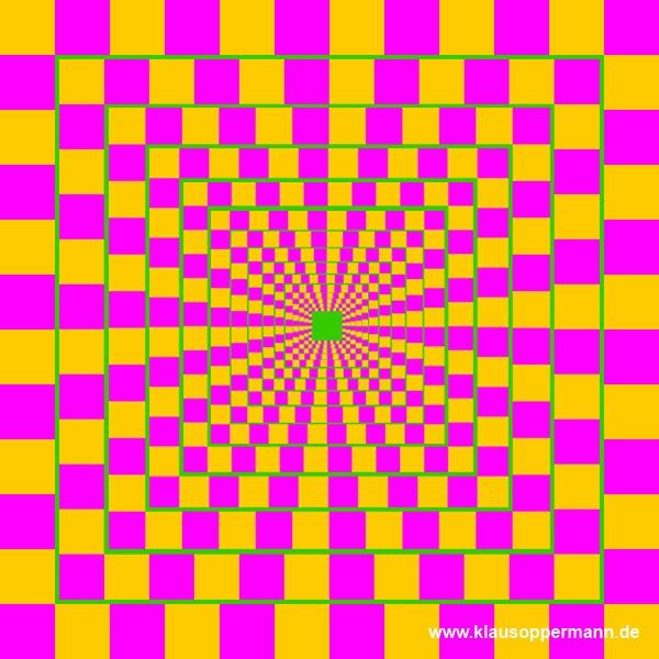 Bewegt die Mitte des Bildes sich vor und zurück? #optical #illusion #optische #täuschung
