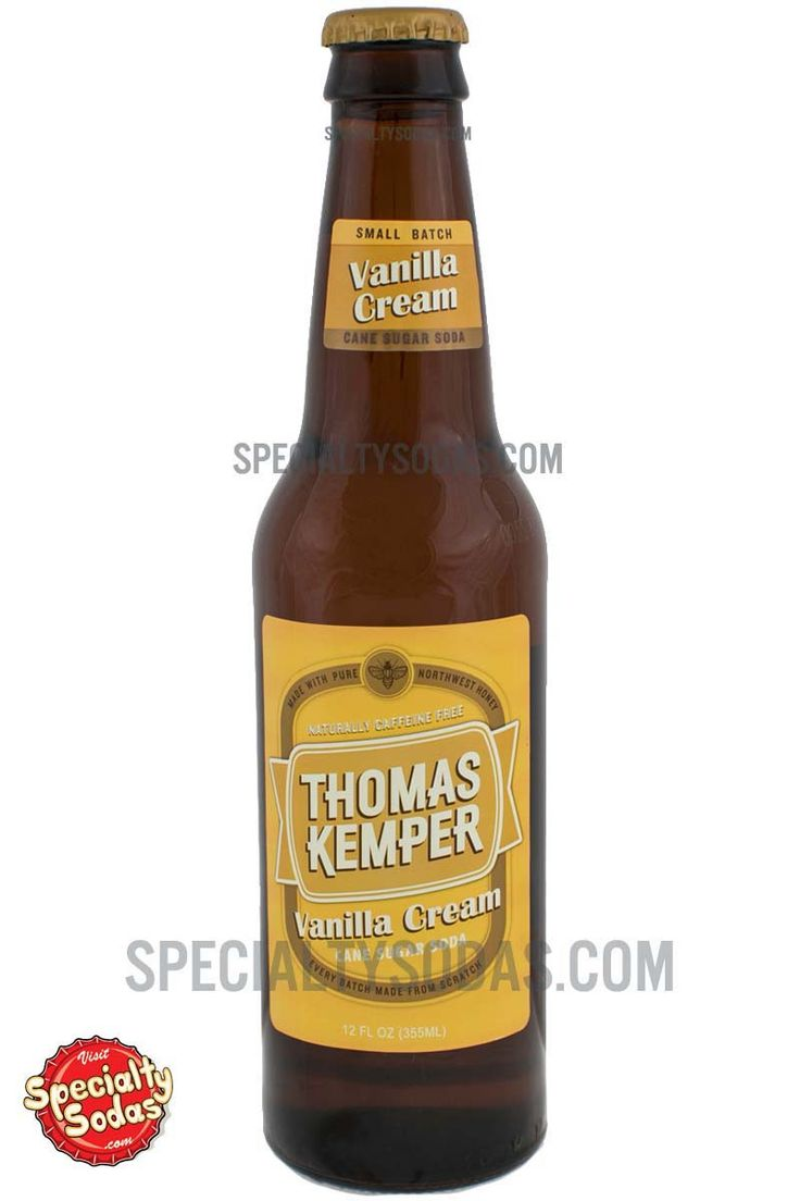 "Product Description Thomas Kemper Cream Soda comes in a 12 fl oz (355 mL) glass bottle with a classy two-tone label that reads, ""Thomas Kemper Vanilla Cream. Cane Sugar Soda. Naturally Caffeine Free."