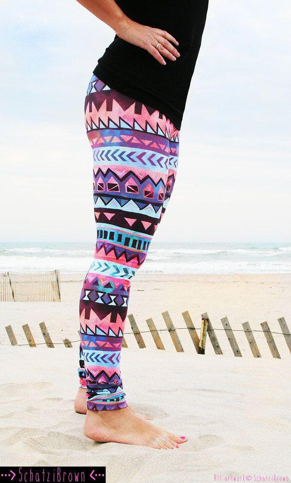 LEGGING 'TRIBAL Stripe' Style pink Legging for by SchatziBrown #surf #legging