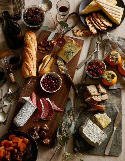 Italian Snacks - salami, baguette,cheese, peppers, sharonfruit, pomegranate,Apricot and dates.