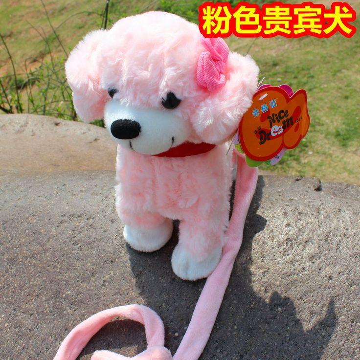 Бесплатная доставка интерактивная новогодние игрушки музыка танцы робот динозавр, Розовый пудель собака плюшевые игрушки