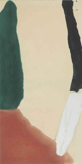 WHITE MAKES FOUR  By Helen Frankenthaler    Dimensions: 75¾ x 38¼ in. (192.4 x 97.1 cm.)  Medium: acrylic on canvas  Creation Date: 1966  http://www.mutualart.com/Artist/Helen-Frankenthaler/406352AD3B6A91D0/AuctionResults