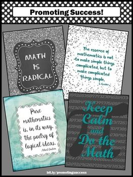 "Math Posters for Middle School and High School in Teal Gray & Black Classroom Decor: These printable signs make great gifts for back to school, Pi Day, Christmas, or the end of the year. You will receive four posters featuring math quotes, including ""Keep Calm and Do the Math.""  You will receive FOUR printable posters as a JPEG and PDF zipped file.   These are high resolution files, so you may print in 4x5, 8x10, 16x20, or 24x30 for best results."
