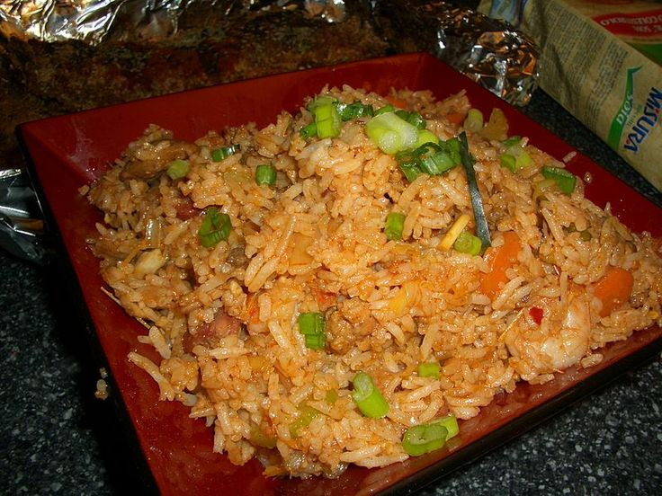 The basic ingredients of nasi goreng are rice left over from yesterday's meal and sliced or ground bumbu (spices) mixture of shallot, garlic, pepper, salt, tomato ketchup, sambal or chili sauce, and usually sweet soy sauce. Some variants may add saus tiram (oyster sauce), ang-ciu (Chinese cooking red wine), kecap ikan (fish sauce), or kecap inggris (Worcestershire sauce). The texture of leftover cooked rice is considered more suitable for nasi goreng than that of newly cooked rice.