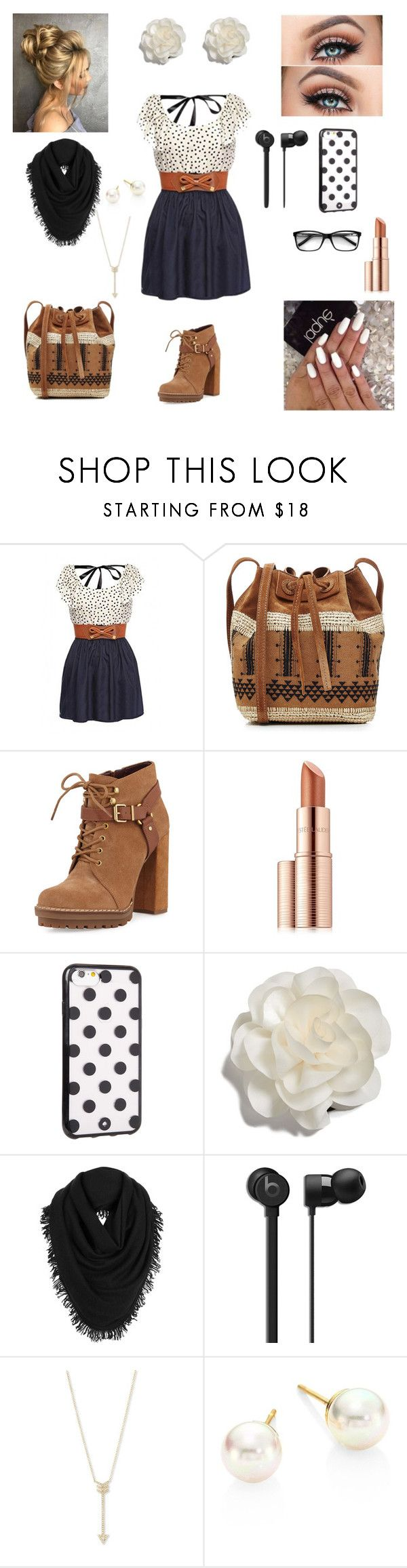 """Cute and Casual Outfit"" by fangirlral ❤ liked on Polyvore featuring WithChic, Vanessa Bruno, BCBGeneration, Estée Lauder, Kate Spade, Cara, White + Warren, EF Collection and Majorica"