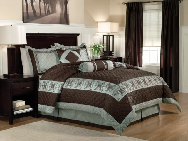 Details about 6 pc lofton brown sage green modern comforter set chocolate brown brown and - Brown and green bedroom ...
