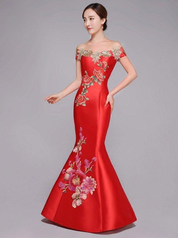 Embroidered Off Shoulder Fishtail Qipao / Cheongsam Wedding Dress