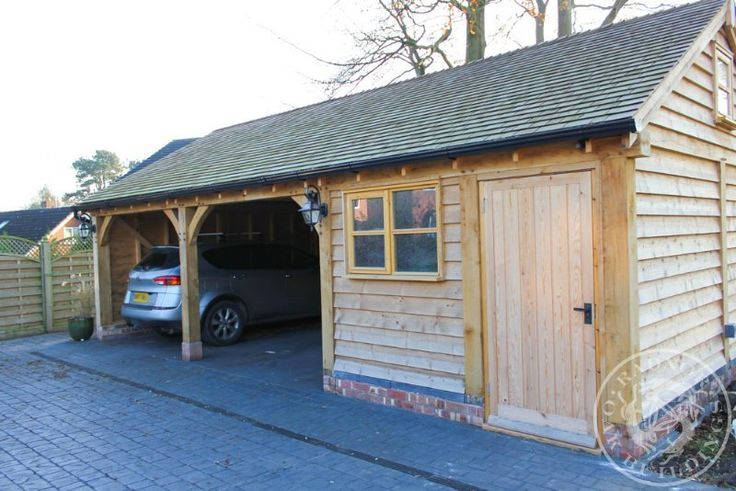 Radnor Oak - 3 Bay Garage - One Enclosed - Oak building ...
