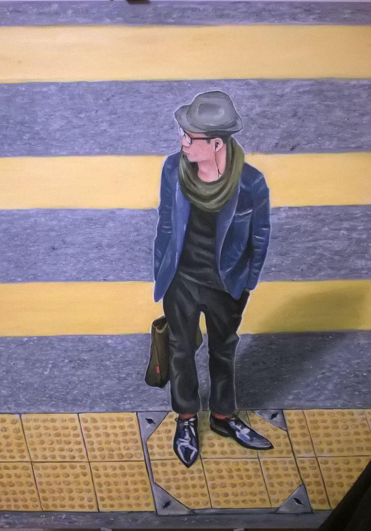 Oil painting 100x120 cm; random guy standing in the street near Wangchai Metro Park hotel.
