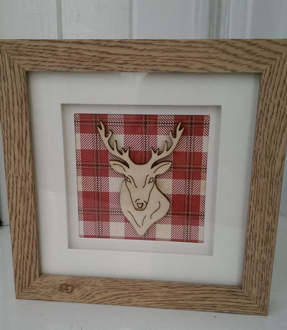 Red Tartan Stag Deer Decorative Frame by Krazykatzcraftuk on Etsy