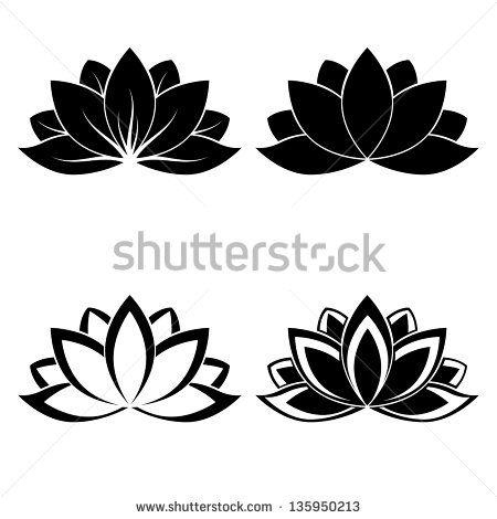 cuatro siluetas de flor de loto para  diseño vectorial