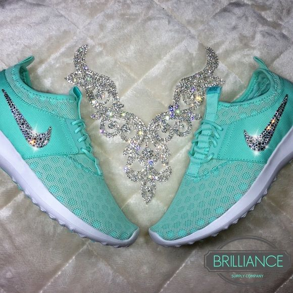 Nike Juvenate Tiffany Blue w/ Swarovski Crystals They're Back! Get your size it sells out! Authentic Women's Nike Juvenate Shoes in Tiffany Blue. Outer swooshes are encrusted with hundreds of real Swarovski® crystals in all different sizes to ensure maximum brilliance and shine. Shoes are brand new in original box, purchased directly from an authorized Nike retailer. Crystals have been applied with industrial strength glue. Will never come off. *Note* Please allow up to 2 weeks to receive…