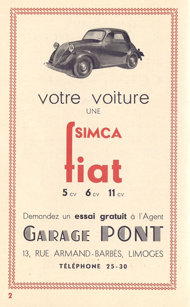 votre voiture une simca fiat programme soci t des concerts de limoges 1934 bfm limoges. Black Bedroom Furniture Sets. Home Design Ideas