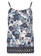 Womens **Tall Print Lace Hem Cami Top- Multi Colour