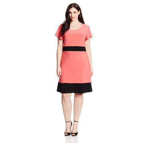 Star Vixen Women's Plus-Size Colorblock Short Sleeve Skater Dress | Plus  Size Clothes
