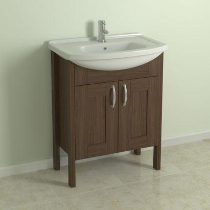 cooke lewis shaker style walnut effect vanity cabinet basin