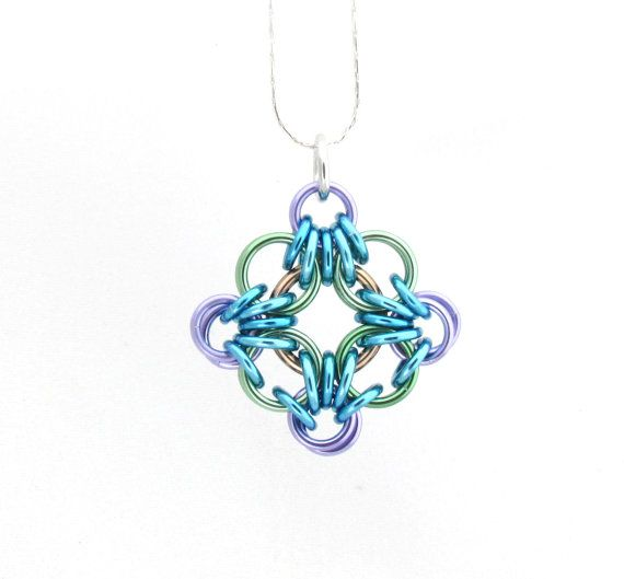 Multicolor Chain Maille Pendant Jump Ring Jewelry by XairianMaille, $17.00