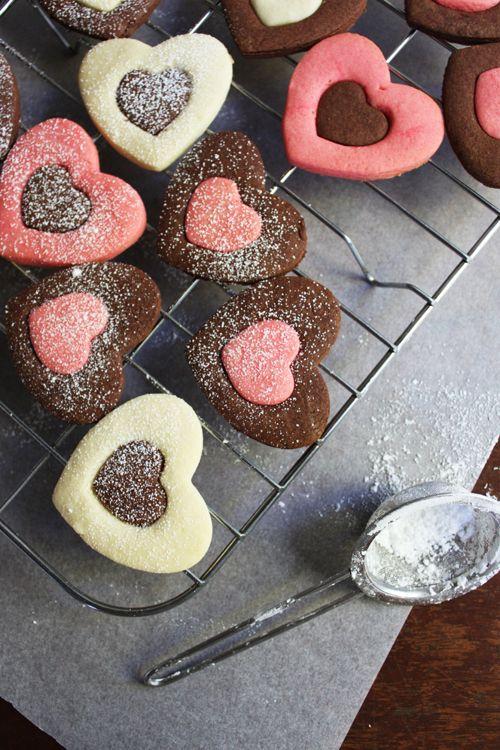 voedsel op papier: Valentijnsdag Heart Cookies