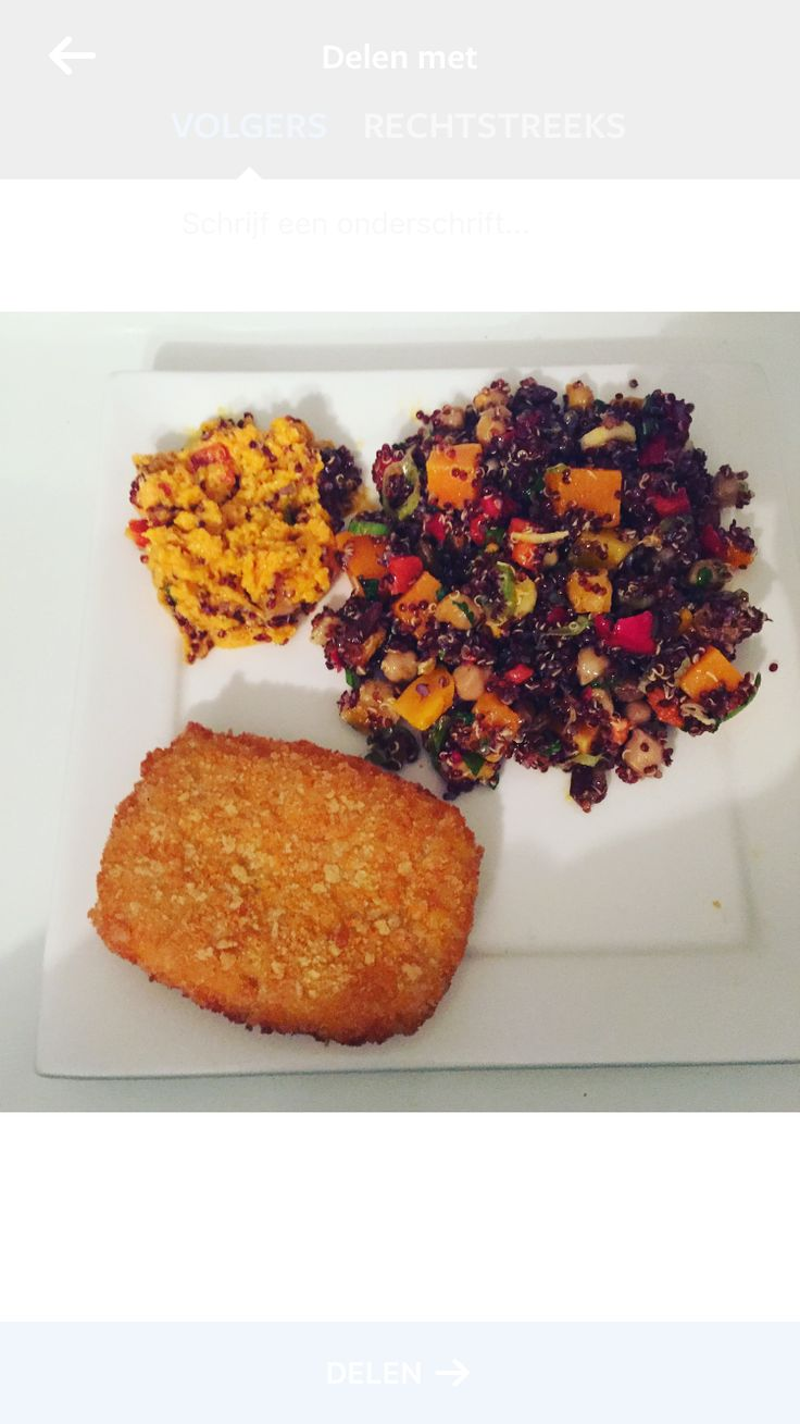 Quinoa salad with mashed pumpkin and Gouda cheese escalope