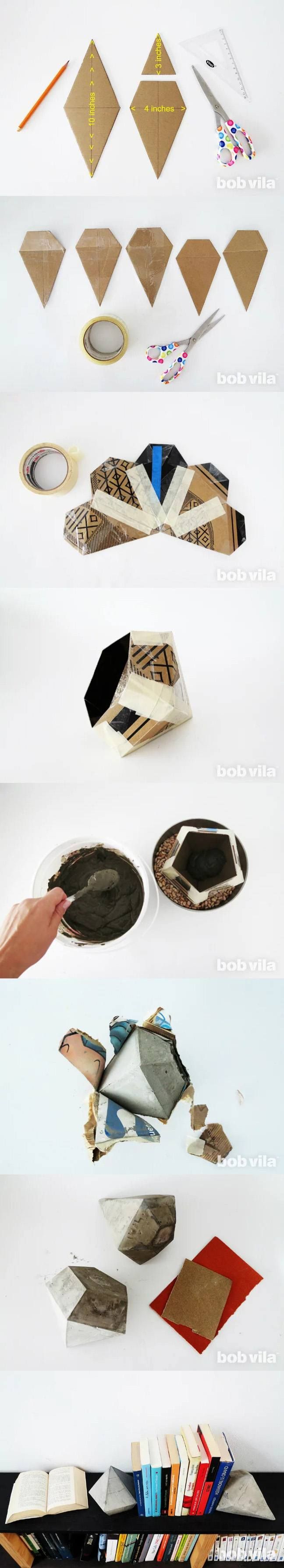 Sujetalibros hormigón - bobvila.com - DIY Concrete Modern Bookends