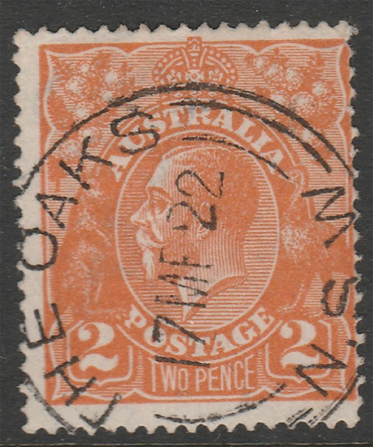 KGV Heads 2d KGV Orange BW95 Single wmk  The Oaks Postmark  Shade Unknown. Find more KGV Heads at Stamp Shop