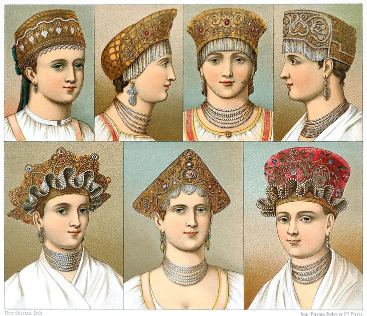 Traditional Russian headdresses from the areas of Kaluga, Veliky Novgorod, Tver, and Kursk.  From Geschichte des Kostüms (The costume history) vol. 5, by Auguste Racinet, Berlin, 1888.