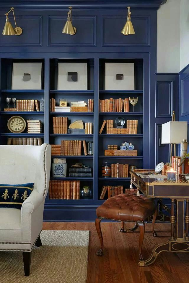 Wonderful Love This Color For An Office Library Deep Blue Paint On The Wall Paneling  And Built In Bookshelves Transformed This Ho Hum Library.