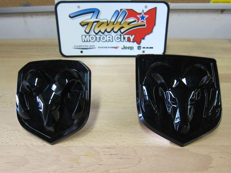 2013 2014 Dodge Ram 1500 2500 Front and Rear Black Ram Head Emblem Set Mopar OEM #Mopar