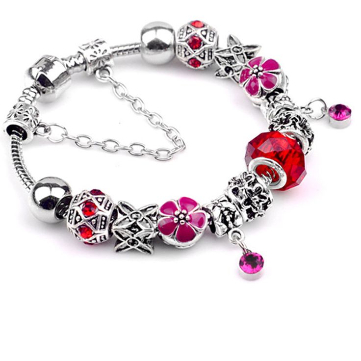 NEW Best Gift Silver Plated Charm bracelet for Women Crystal  Glass Beads Jewelry Bracelet Cuff Bangle