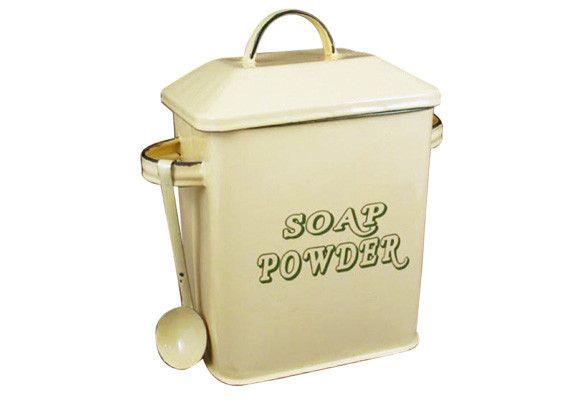 Enamel Soap Powder Bin with Spoon - Cream