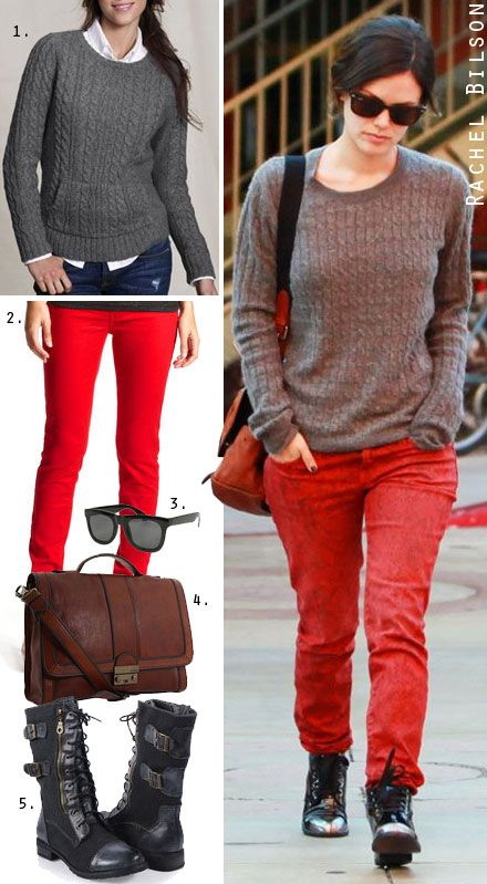 Combat boots and red jeans